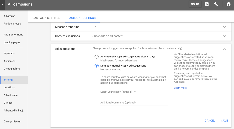 Ad Suggestions - Google AdWords Interface
