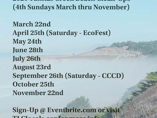 2020 Tunitas Creek Beach Clean-Up Schedule (UPDATED 3/19 !!)