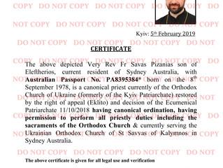 Fr Savas Pizanias - Canonical Priest Verification