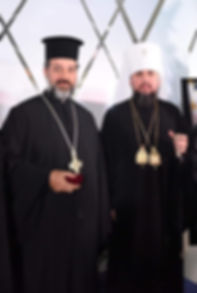 Fr Savas Pizanias with Metropolitan Epiphanios of Kyiv
