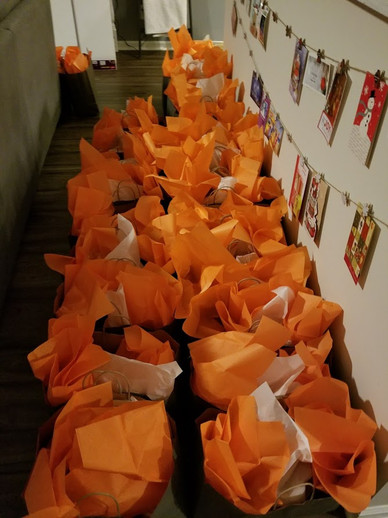 Care packages on deck, ready for delivery.