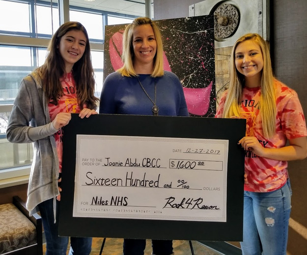 Niles NHS and R4R donate to Joanie Abdu Comprehensive Breast Care Center.