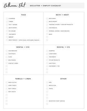 Bathroom Declutter Checklist