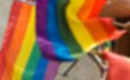 Pride flags waving.