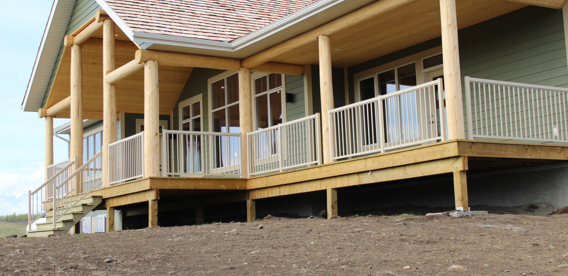 Log ranch house