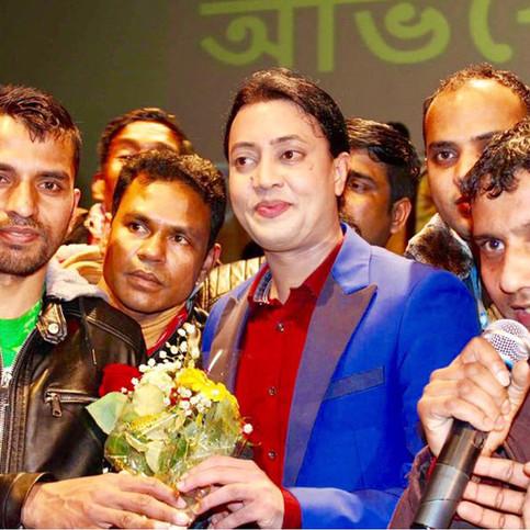 Members congratulating admin