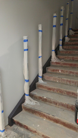 stair prep and first coat