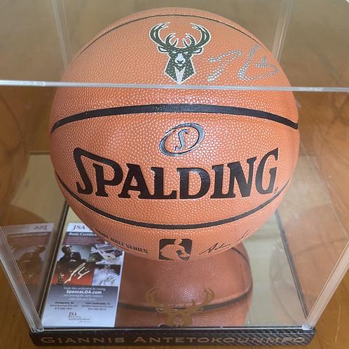 Signed Giannis Antetokounmpo Official Bucks Ball + Display & JSA