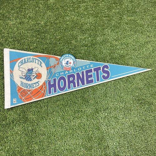 Vintage NBA Hornets Felt Pennant with badge
