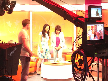 Bestselling author Anouska Knight chatting with ITV's Lorraine Kelly in the London television studios