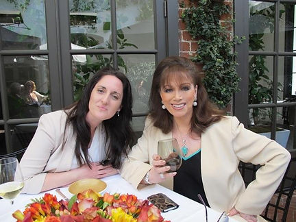 Bestselling authors Anouska Knight and Jackie Collins enjoying lunch in Spago Beverly Hills