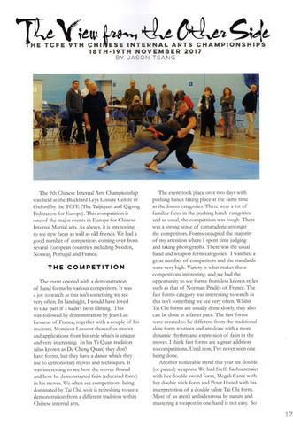 The TCFE 9th Chinese Internal Arts Championship, 18-19/11/17