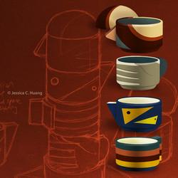 De Chirico Stacking Mugs Sketch