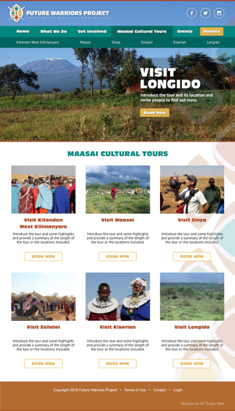 Future Warriors Project tours page layout