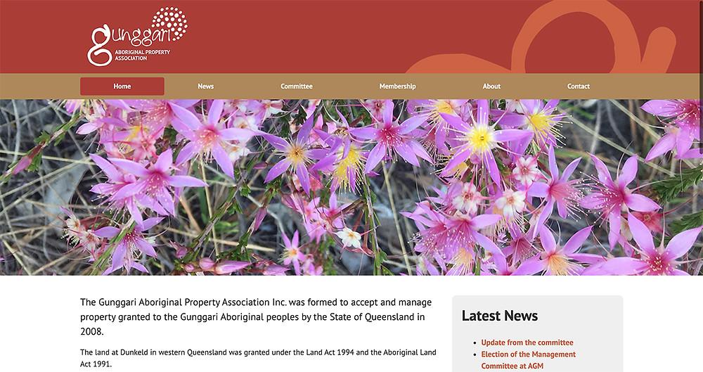 Gunggari Aboriginal Property Association website home page