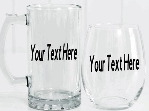 Customized Beer Mug & Wine Glass (Set)