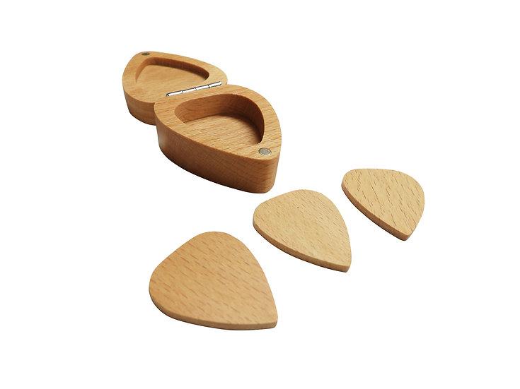 Freshman Guitars Wooden Heart Shaped Pick case and picks