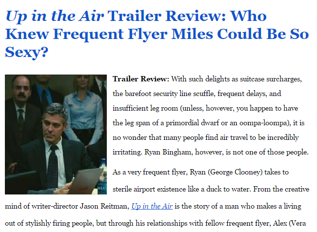 Up in the Air Trailer Review