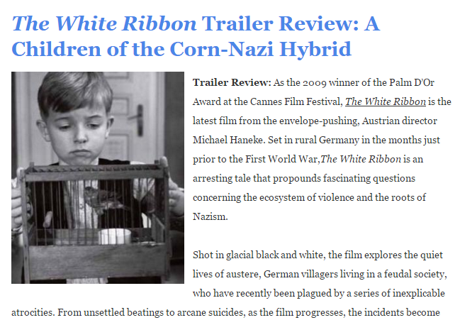 The White Ribbon Trailer Review