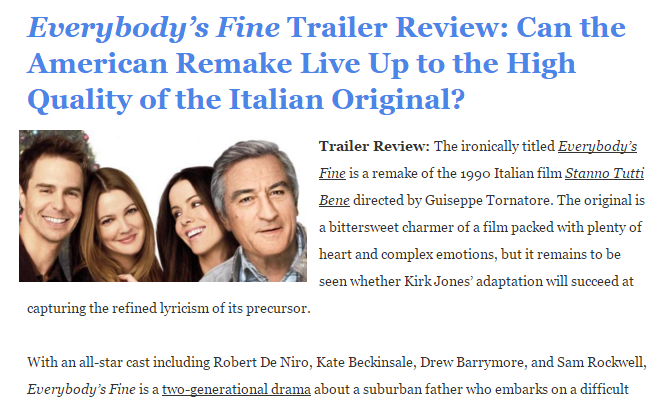Everybody's Fine Trailer Review
