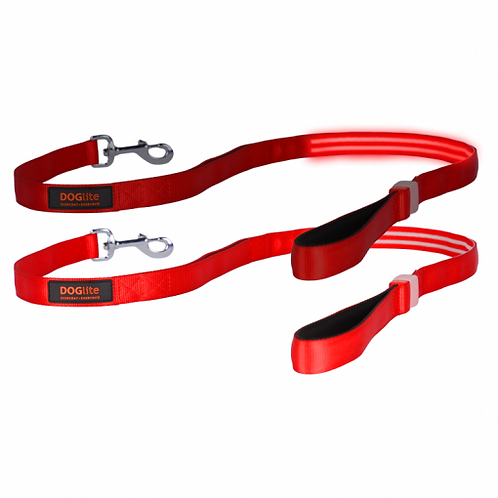 DOGlite LED Leash Red Nite Medium (135cm) with Dual Control Handle