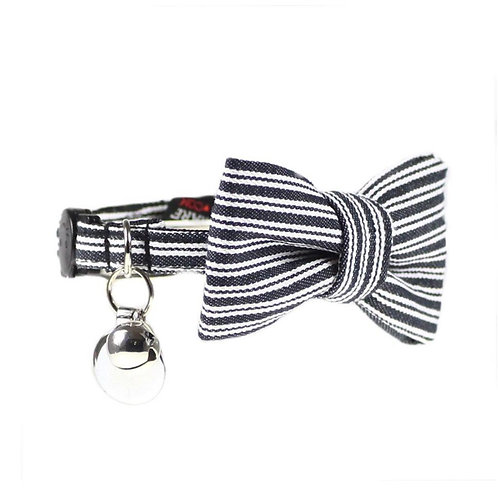Dharf Cat Bow Tie Collar Set-Black Pin Stripe
