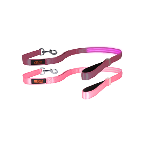 DOGlite LED Leash Pink Sky Medium (135cm) with Dual Control Handle
