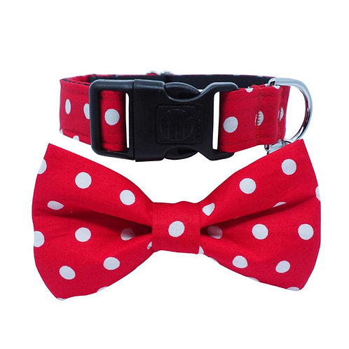 Dharf Dog Bow Tie Collar Set-Red Polka Dot