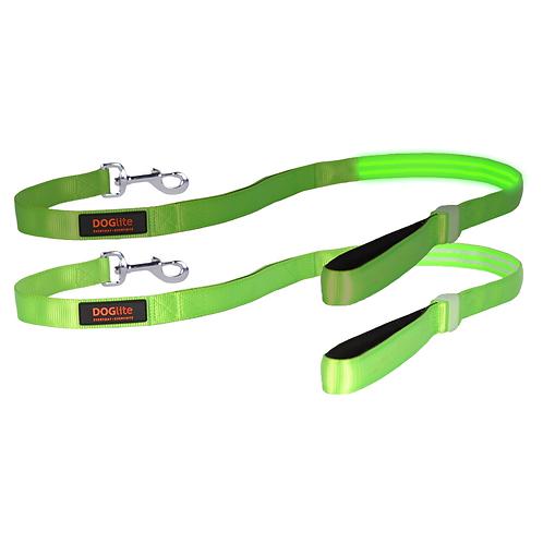 DOGlite LED Leash Green Glow Medium (135cm) with Dual Control Handle