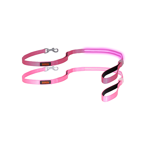 DOGlite LED Leash Pink Sky Small (120cm) with Dual Control Handle