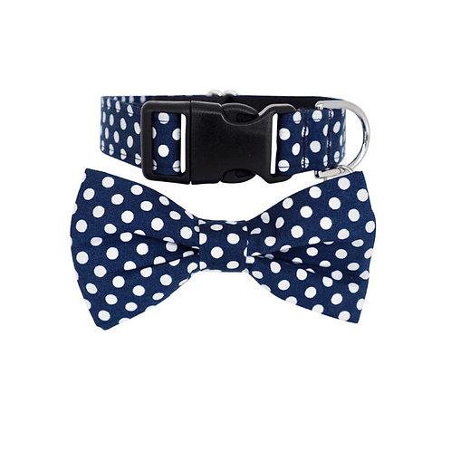 Dharf Dog Bow Tie Collar Set-Navy Polka Dot
