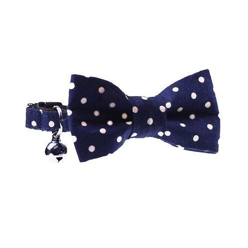 Dharf Cat Bow Tie Collar Set-Navy Polka Dot