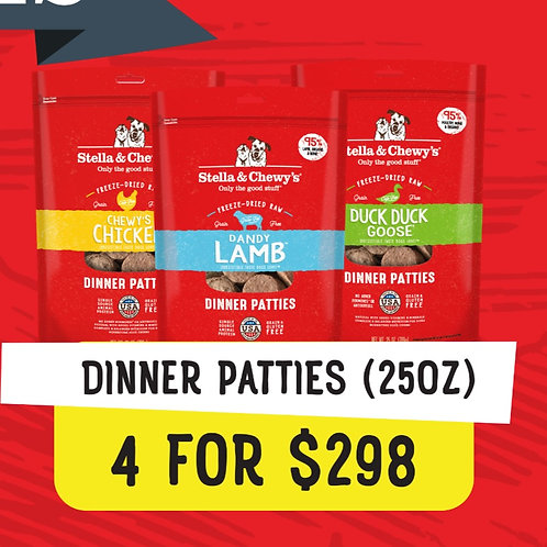 Stella & Chewy's Bundle Deal : 25 oz Dinner Patties (4 for $298)