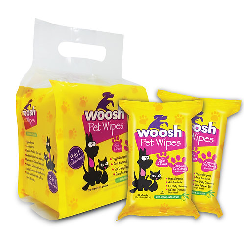 Woosh Pet Wipes Value Pack-3 packs x 20 sheets
