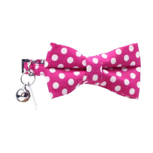 Dharf Cat Bow Tie Collar Set-Pink Polka Dot
