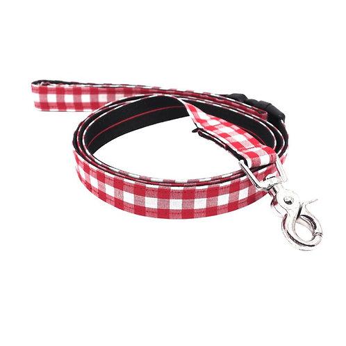 Dharf Dog Leash-Red Check