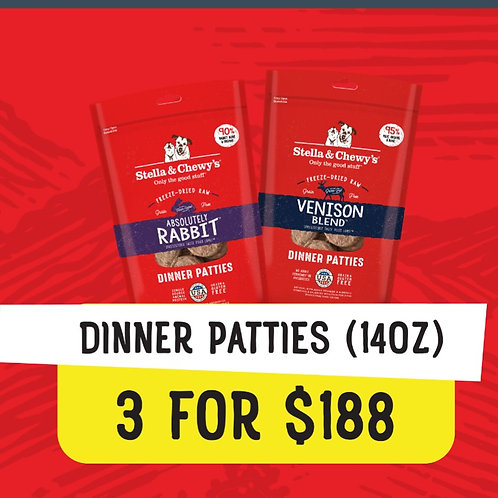 Stella & Chewy's Bundle Deal : 14 oz Dinner Patties (3 for $188)