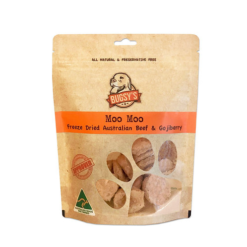 Bugsy's-Moo Moo: Grass Fed Australian Beef & Goji Berry Pet Treat 70g