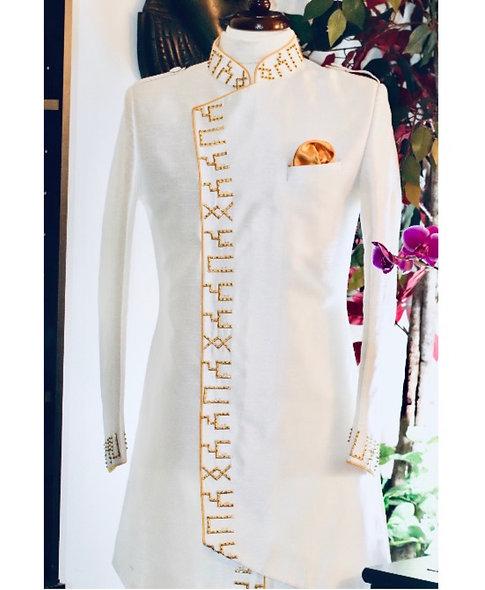 SABAA Divine Masculine Silk Jacket (White)