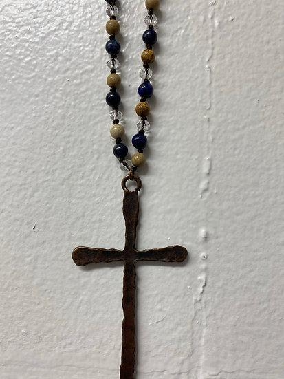 Blue Lapis Cross Necklace