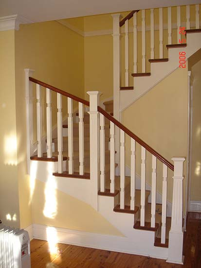 white and timber cut string stairs image