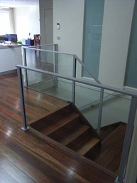 glass balustrade and timber staircase based in sydney image