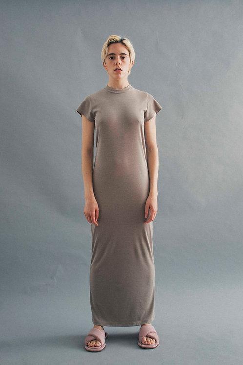 TEE DRESS - SMOKEY BEIGE RIB