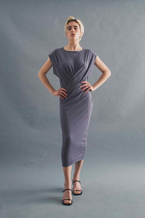 TWIST DRESS - FRENCH GREY RIB