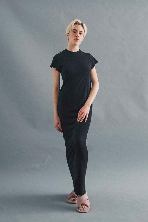 TEE DRESS - BLACK RIB