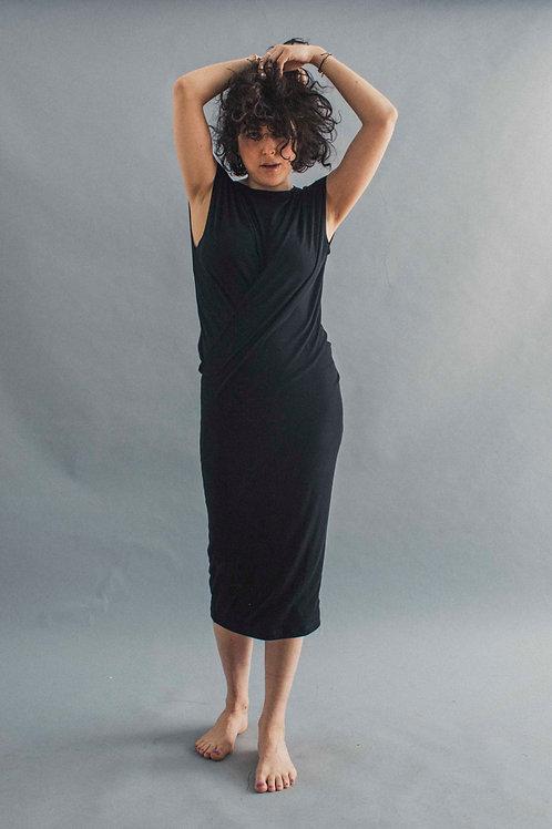 TWIST DRESS - BLACK RIB