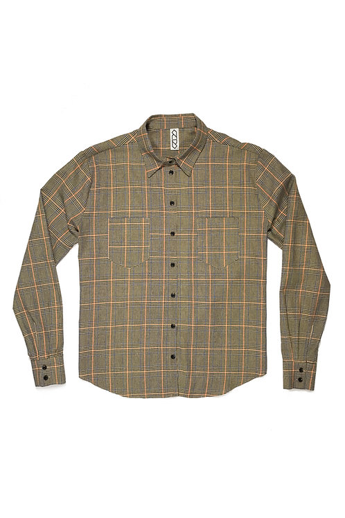 OPEN BACK SHIRT - HOUNDSTOOTH PLAID