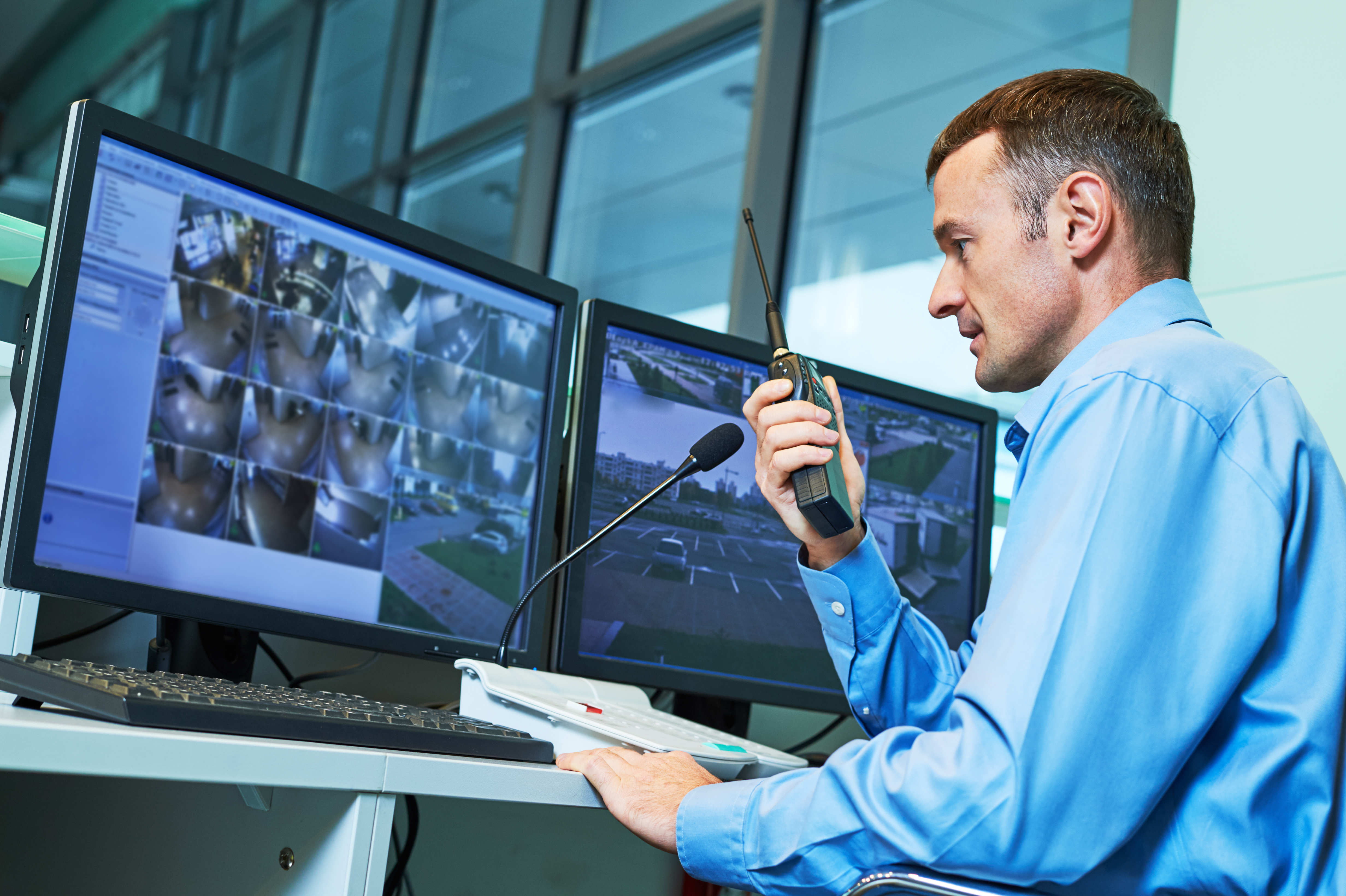 Security worker during monitoring.jpg Video surveillance system