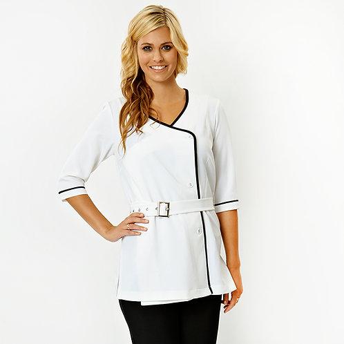 Rochelle Tunic White 3/4 Sleeve Spa Wear