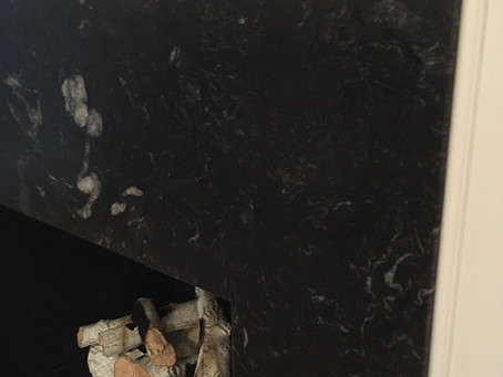 Fireplace Black Absolute Honed and Titanium Brushed